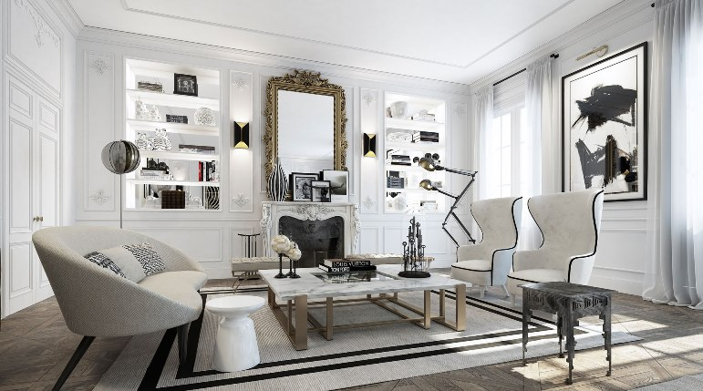 blanco negro y dorado con un toque franc s decoraci n muy chic. Black Bedroom Furniture Sets. Home Design Ideas