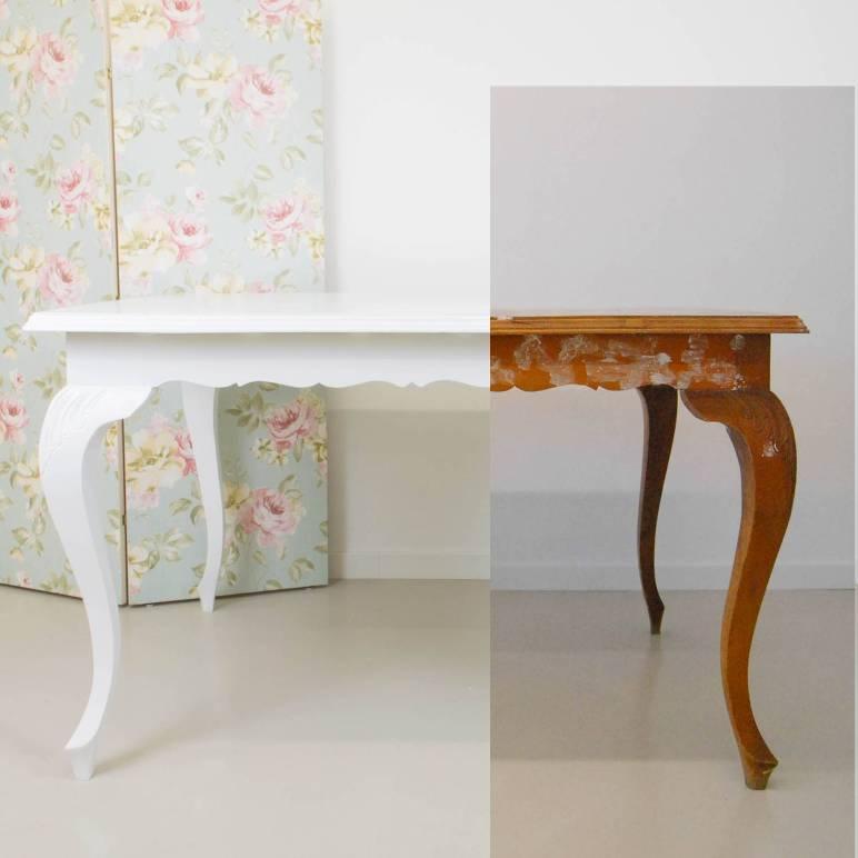 Transformar una mesa antigua pintando en blanco en el taller de antic chic - Como pintar un mueble de madera en blanco ...