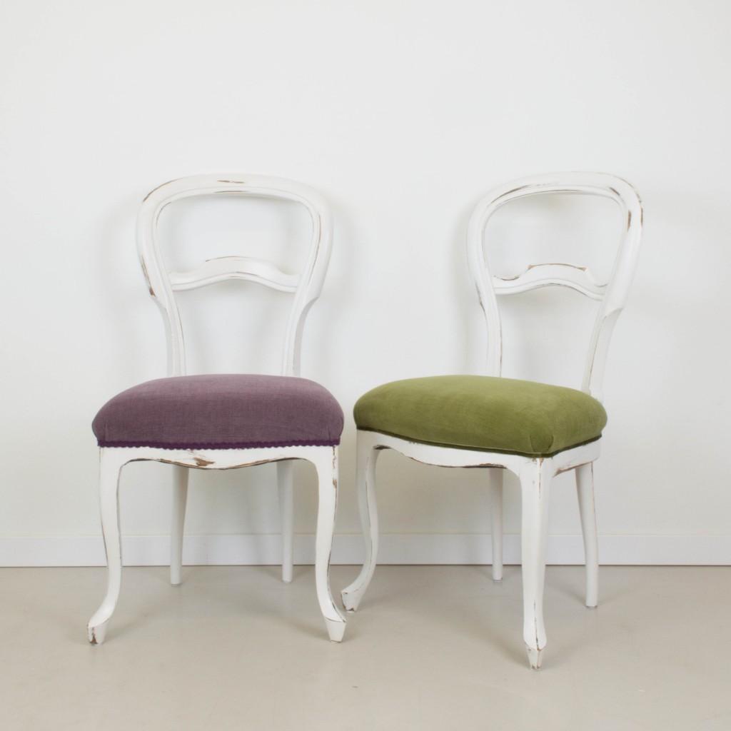 Sillas tapizadas clasicas clsico silla clsica restaurada for Sillas blancas de madera tapizadas