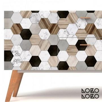Azulejos hexagonales cerámica y madera (mini)