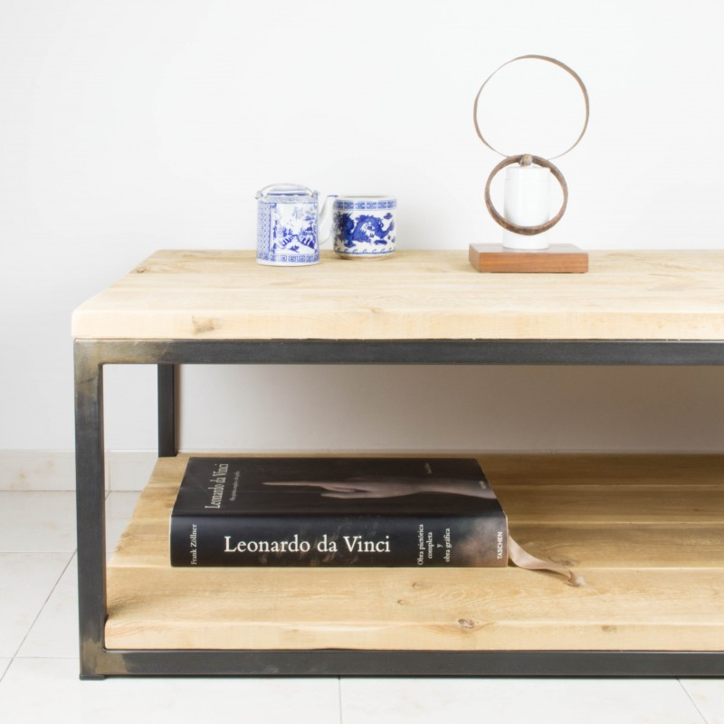 Mesa de centro de hierro y madera de pino recuperada - Mesa de centro de madera ...