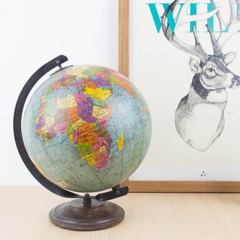 Bola del mundo con base de madera maciza mapas y globos - Bola del mundo decoracion ...