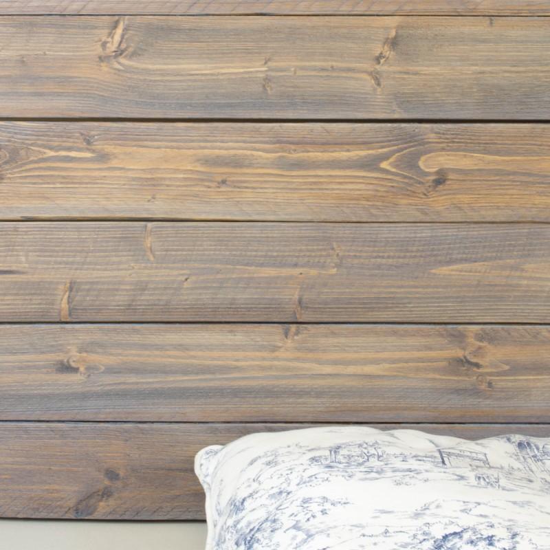 Cabecero de madera r stica acabado envejecido gris otros - Cabeceros de madera a medida ...