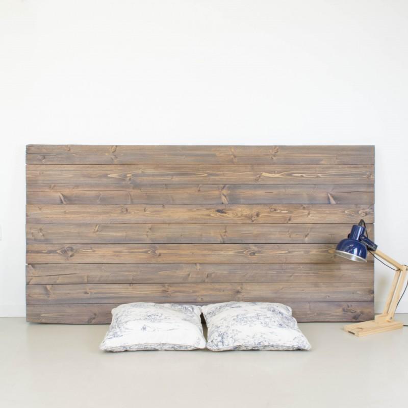 Cabecero de madera r stica acabado envejecido gris otros - Cabecero de madera ...