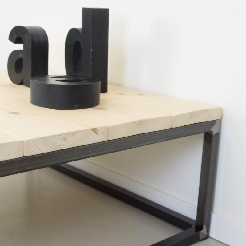 Mesa de centro de hierro y madera de pino mesas muebles - Mesa centro madera y hierro ...