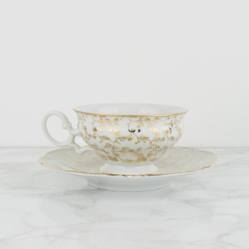 Pareja de tazas y platos de te de porcelana francesa for Tazas de te estilo vintage