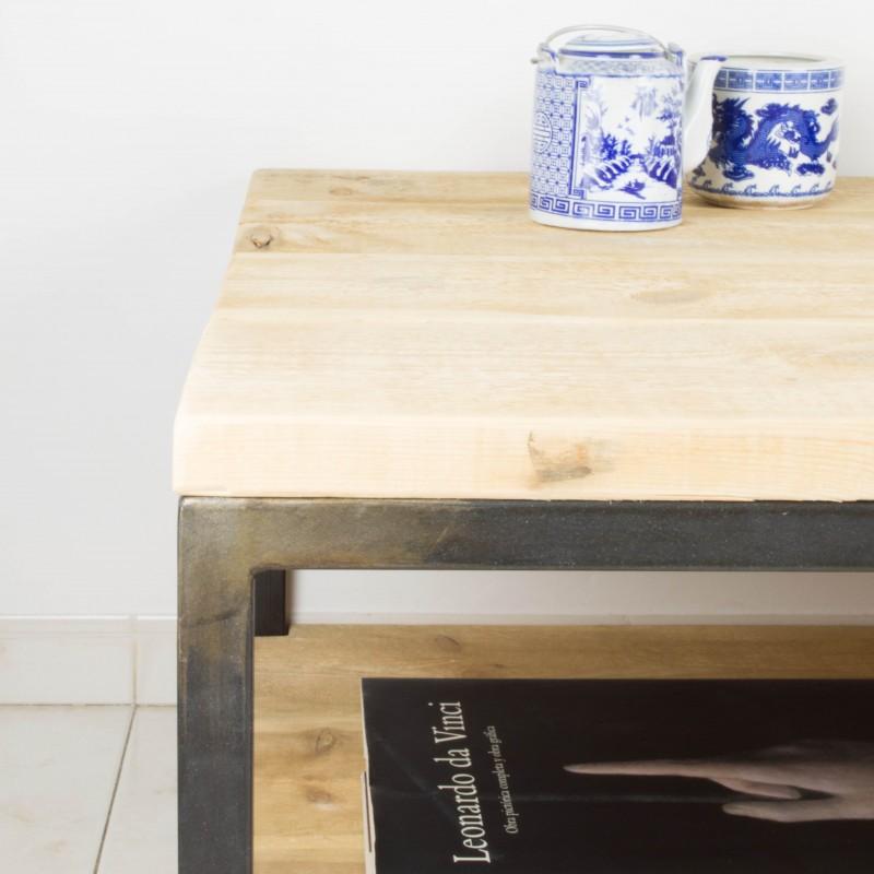 Mesa de centro de hierro y madera de pino recuperada - Mesa madera hierro ...