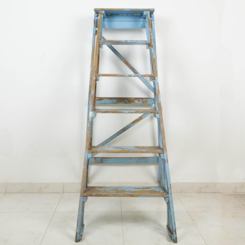 Escalera francesa de pintor azul auxiliar muebles for Escaleras pintor precios